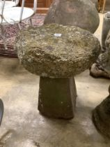 A small staddle stone, 38cm diameter, height 54cm