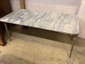 A rectangular marble top brass coffee table, width 109cm, depth 52cm, height 43cm