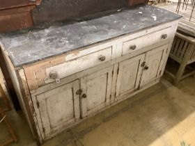 A Victorian pine slate top low dresser, length 170cm, depth 54cm, height 89cm