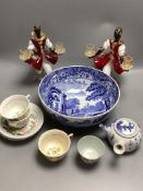 A Copeland Spode blue and white bowl, various cups, teapot etc, a pair of Venetian glass candelabra