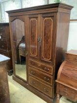 An Edwardian satinwood banded mahogany wardrobe, width 160cm, depth 56cm, height 206cm