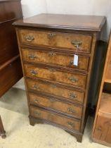 A Queen Anne revival narrow walnut chest, width 59cm, depth 49cm, height 108cm