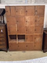 A mid 20th century locker cabinet (one door missing), width 128cm, depth 33cm, height 168cm