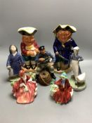 Two Royal Copenhagen figures, two character jugs, Royal Doulton, etc.