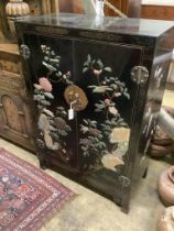 A Chinese lacquered and hardstone inlaid cabinet, width 87cm, depth 43cm, height 128cm
