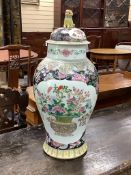 An early 20th century Chinese famille rose vase, Kangxi mark, height 58cm