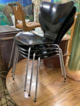 A set of four Arne Jacobsen for Fritz Hansen black ply chairs, width 46cm, depth 40cm, height 77cm