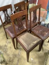 A set of four Edwardian satinwood banded lyre back dining chairs