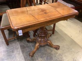 A Victorian walnut folding top tea table, width 92cm