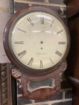 James Park of Preston. An early 19th century brass inset mahogany drop dial wall clock, with single