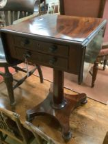 An early Victorian mahogany drop leaf work table, width 44cm