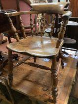 An oak elm and beech smoker's bow chair, width 58cm