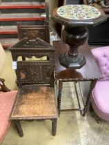 A Victorian Aesthetic movement carved oak hall seat, another carved oak chair, a tile top