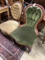 A Victorian mahogany spoon back nursing chair and a Victorian walnut spoonback nursing chair