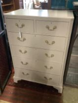 A 1920's pale grey painted chest of six drawers, width 80cm