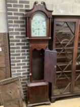 Jno Martin of Worksop. An early 19th century inlaid mahogany eight day longcase clock, with painted
