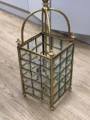 An Edwardian brass hall lantern, height 187cm