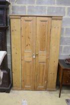 A Victorian pine two door cabinet, width 113cm, depth 25cm, height 181cm