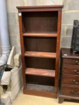 A Victorian mahogany open bookcase, width 71cm height 164cm