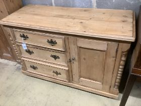 A Victorian pine combined chest / cupboard, width 119cm
