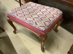A Victorian mahogany dressing stool with needlework top, on cabriole legs, width 66cm