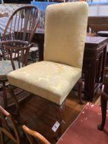 A mid 18th century walnut hall chair, width 60cm