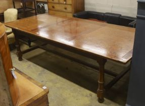 A large oak and pine refectory table, length 274cm, depth 122cm, height 76cm