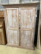A Victorian pine two door cupboard, width 120cm, depth 45cm, height 170cm