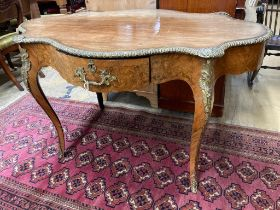 A 19th century French marquetry and kingwood centre table, (having later walnut-veneered top) width