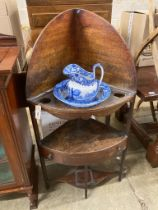 A George III corner washstand, width 62cm, depth 41cm, height 121cm together with a Spode blue and