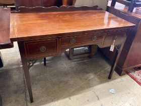 A George III style kneehole dressing table, width 114cm, depth 57cm, height 82cm