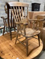 Two Victorian Windsor lathe back armchairs