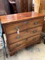 A George III mahogany three drawer chest, width 90cm, depth 48cm, height 83cm