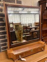 An Edwardian mahogany toilet mirror, width 71cm, depth 22cm, height 84cm