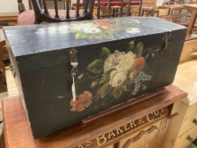 A Continental painted pine domed top trunk, length 88cm, depth 45cm, height 42cm