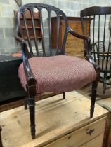 A Hepplewhite style carved mahogany open armchair, width 55cm depth 50cm height 92cm