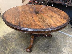 A Victorian circular rosewood tilt top breakfast table, diameter 126cm, height 76cm