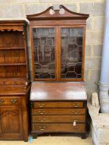 An Edwardian inlaid mahogany bureau bookcase, width 91cm, depth 48cm, height 210cm