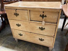 A small Victorian pine chest, width 87cm, depth 47cm, height 86cm
