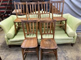 A set of six early 20th century beech chairs stamped 'Elliott & Son'