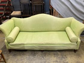 A George III style sofa with pale green loose cover, length 232cm, depth 80cm, height 93cm