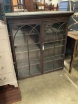 An early 19th century mahogany bookcase top, width 114cm