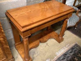 A Biedermeier style satin birch console table, width 99cm depth 48cm height 80cm