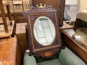 A George III style inlaid parcel gilt mahogany fret cut wall mirror, width 60cm, height 84cm