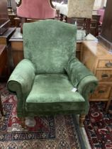 A Victorian style lounge armchair, with green upholstery, width 84cm, depth 74cm, height 96cm
