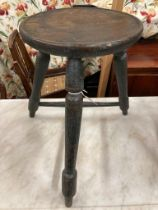 A late 18th century/early 19th century possibly Welsh sycamore and ash small cricket table / stool,