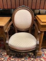A pair of 19th century French elbow chairs, width 62cm, depth 50cm, height 100cm