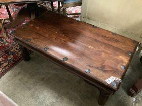 A Indonesian rectangular hardwood coffee table, width 110cm, depth 82cm, height 40cm