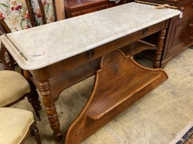 A 19th century French marble top oak patisserie table, width 150cm, depth 62cm, height 142cm