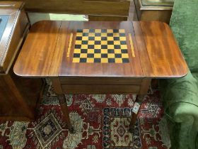 A Regency and later inlaid mahogany drop flap games table with backgammon interior, width 55cm,